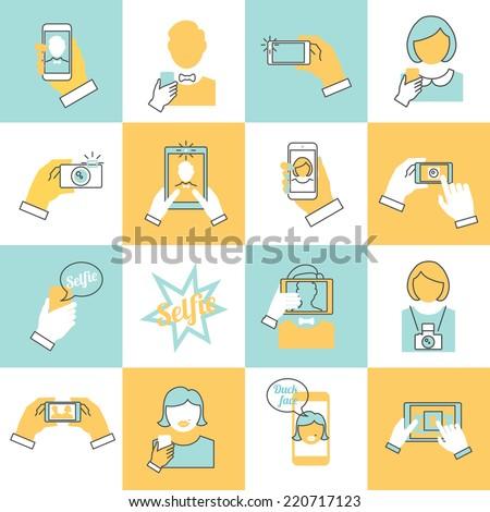 Selfie self portrait modern camera flat line icons set isolated vector illustration - stock vector