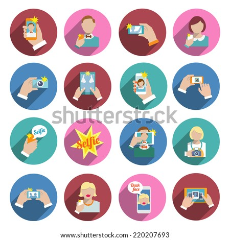 Selfie self portrait smartphone camera picture taking flat icons set isolated vector illustration - stock vector