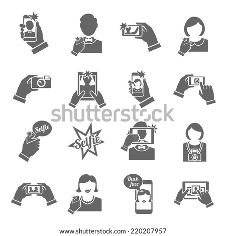 Selfie self portrait smartphone picture taking black icons set isolated vector illustration - stock vector