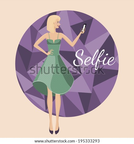 Selfie. Smiling girl making photography of herself with mobile phone. Photography tendencies and trends for your design. Beautiful young woman posing in vintage dress with dots on triangle background  - stock vector