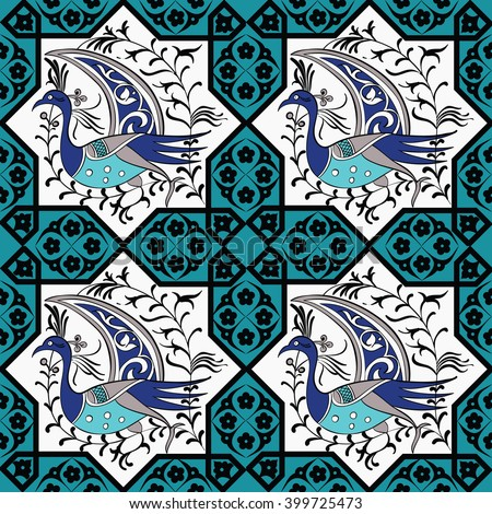 Seljuk-Turkish style Iznik tile seamless pattern design with stylized bird in octonal composition and floral decorations, repeating surface pattern for all web and print purposes. - stock vector