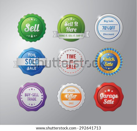 Sell badge collection - stock vector