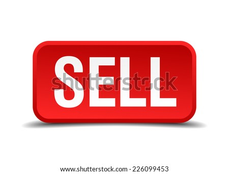 Sell red 3d square button isolated on white - stock vector