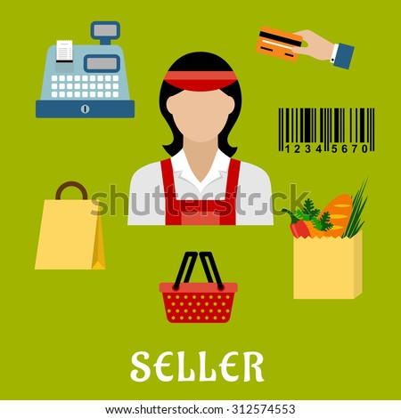 Seller profession concept with shopping icons including a bag, till or cash register, credit card payment, bar code and bag of groceries around a female shop assistant - stock vector
