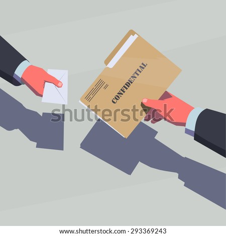 Selling the secret information. Male hands passing confidential folder and envelope with money. - stock vector