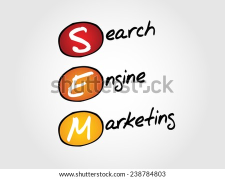 SEM Search Engine Marketing vector business concept acronym - stock vector
