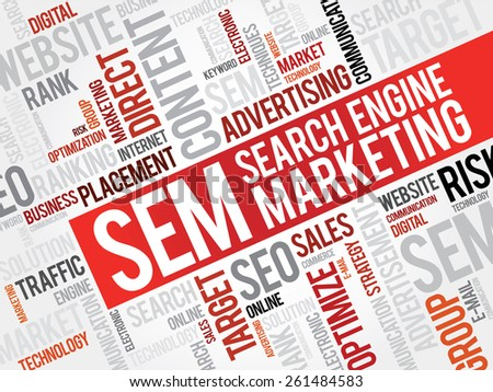 SEM (Search Engine Marketing) word cloud business concept - stock vector