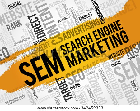 SEM - Search Engine Marketing word cloud, business concept - stock vector