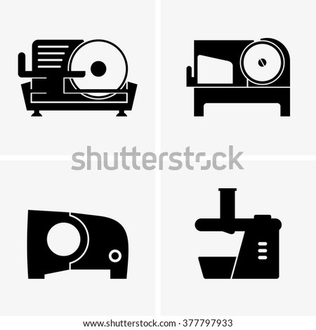 Semi automatic meat slicer - stock vector