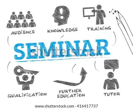 Seminar. Chart with keywords and icons - stock vector