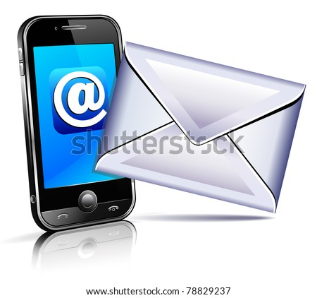 Send a letter icon - mobile phone - stock vector