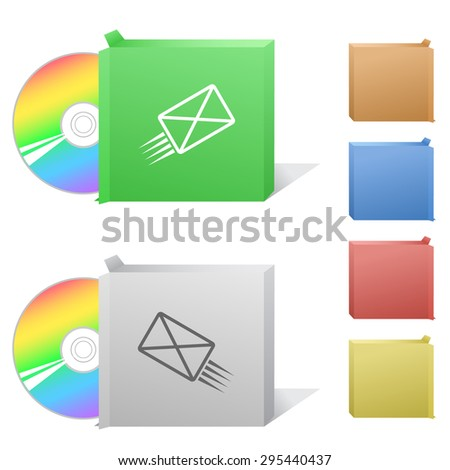 send mail. Box with compact disc. - stock vector