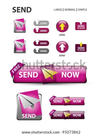 send now button, collection of mail message icons and buttons - stock vector