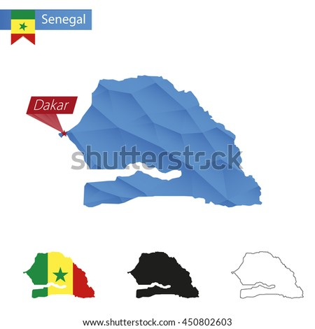 Senegal blue Low Poly map with capital Dakar, versions with flag, black and outline. Vector Illustration. - stock vector