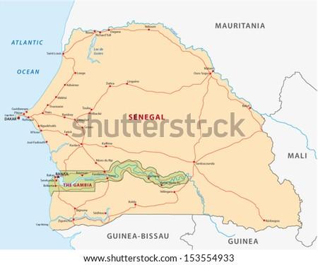 senegal-gambia road map - stock vector