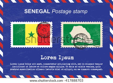Senegal postage stamp, postage stamp, vintage stamp, air mail envelope. - stock vector