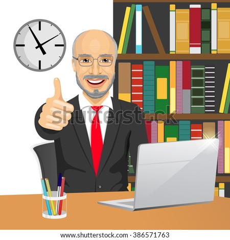 senior businessman making thumbs up hand sign at his office while working with laptop - stock vector
