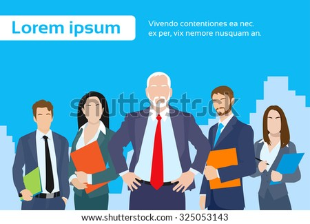 Senior Businessmen Boss with Group of Business People Team Flat Vector Illustration - stock vector
