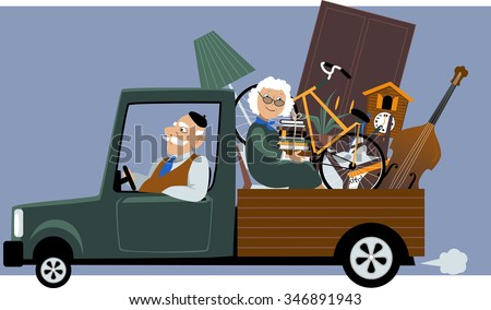 Senior couple in a pick-up truck moving their belongings, EPS 8 vector illustration, no transparencies - stock vector