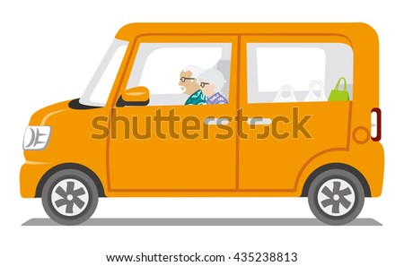Senior Couple riding the Orange color car ,Side view - Isolated - stock vector