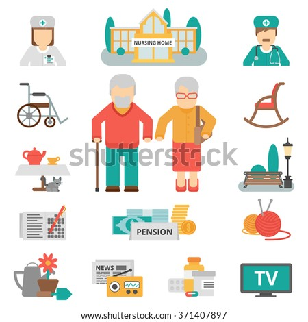 Senior lifestyle flat color icons set with elderly family couple nursing home and items for leisure activities isolated vector illustration  - stock vector