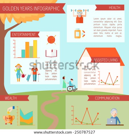 Senior lifestyle infographics with old people health symbols and statistics charts vector illustration - stock vector