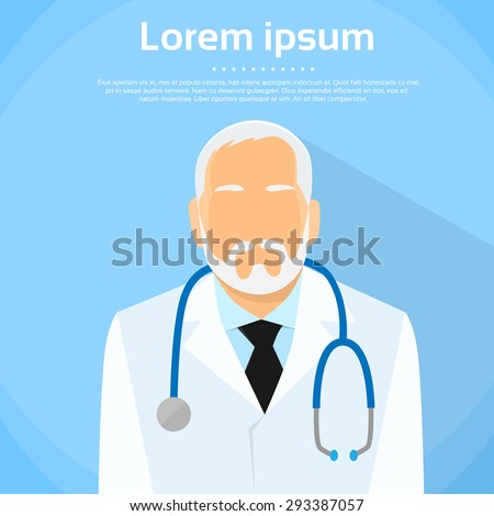 Senior Medical Doctor Profile Icon Male Portrait Flat Design Vector Illustration  - stock vector