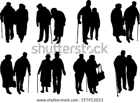 Senior .Silhouettes of people. - stock vector