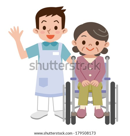 Senior woman in a wheelchair and young caregiver - stock vector