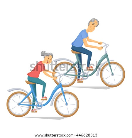 Seniors bicycling and smiling. Pensioners ride bike together. Old man and women leisure. Cartoon older healthy cyclist vector illustration. Elderly people character have a fun. Couple fitness. - stock vector
