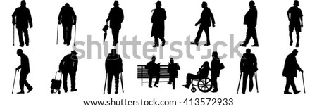 Seniors mature persons in many walking pose, casual active life. Old man persons walking with stick. Vector characters isolated on white background. Group of grandpa  vector silhouette. - stock vector