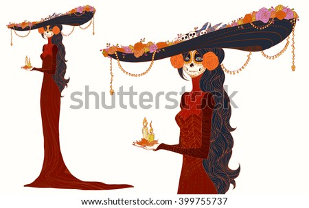 Senorita in Day of the Dead dress, holds candles. Vivid Cute card for Dia de los Muertos, doodle sugar scull girl (colorful with outline contour), cartoon character. Hand drawn vector illustration. - stock vector