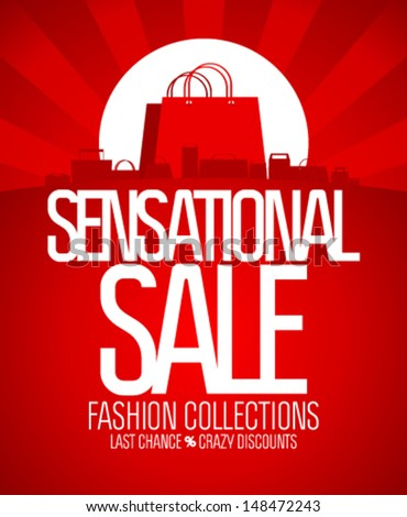 Sensational sale design template. - stock vector
