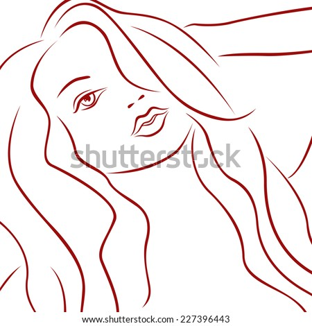 Sensual female red laconic heads outline over white, hand drawing vector simple illustration - stock vector