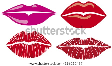 sensuality lips collection (lips set, kiss lips)  - stock vector