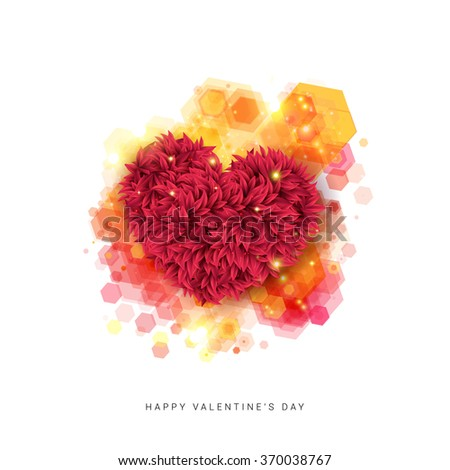 Sentimental Happy Valentine`s day card. Decorative floral heart on a Hexagon pattern background. Vector illustration. - stock vector