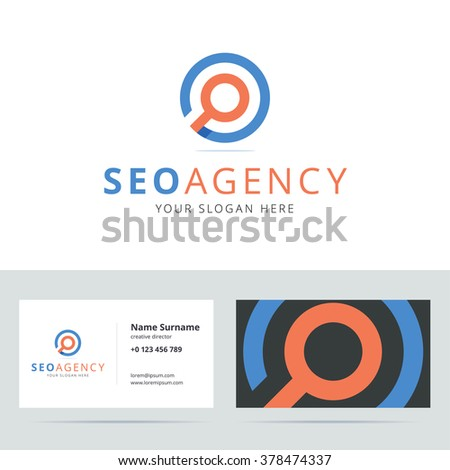 SEO agency logo and business card template. Search engine optimization logo. Vector illustration. - stock vector