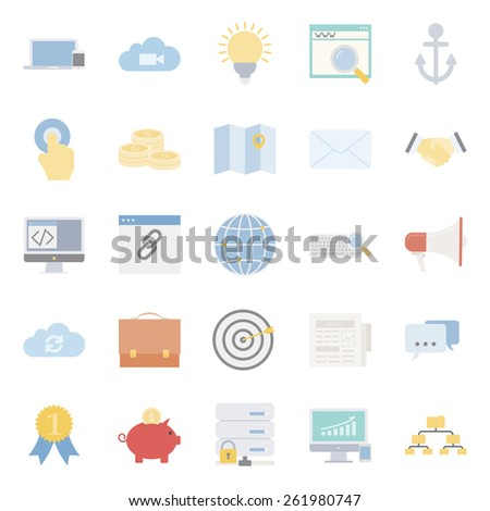 Seo and e-marketing flat icon set vector graphic illustration - stock vector