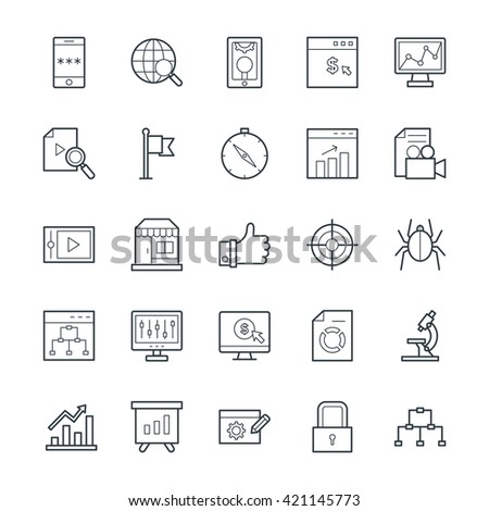 SEO and Internet Marketing Cool Vector Icons 2 - stock vector