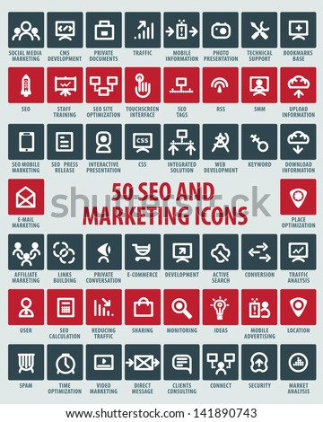 SEO and marketing icons - stock vector