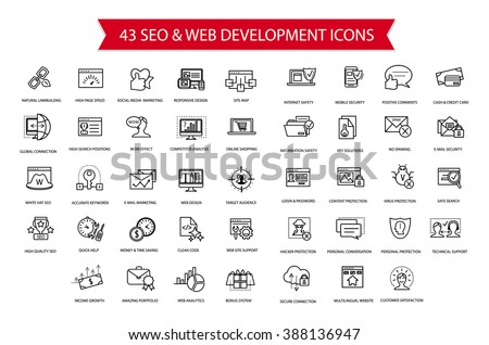 SEO, Computer security, Web development thin line simple flat modern style icon set, collection of web and optimization vector outline icons, internet, safety, web, complicated high quality symbols - stock vector