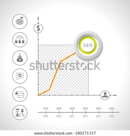SEO concept and set icons of SEO and web. Vector illustration - stock vector