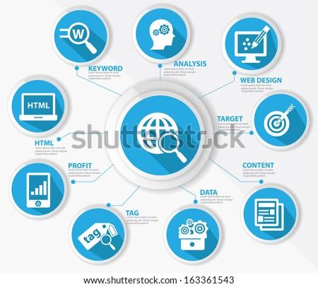 SEO concept,Internet technology,Blue version,vector - stock vector