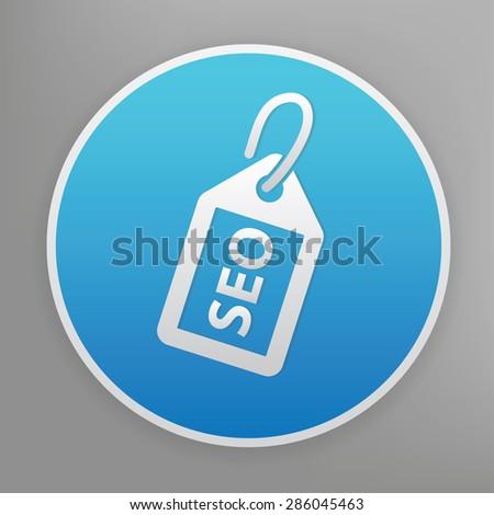 SEO design icon on blue button,clean vector - stock vector