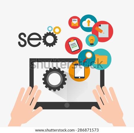 SEO design over white background, vector illustration. - stock vector