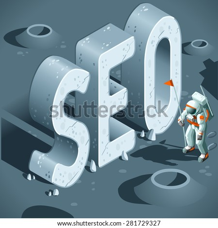 SEO Discovery like the First Moon Landing. 3D Flat Isometric Vector Concept. - stock vector