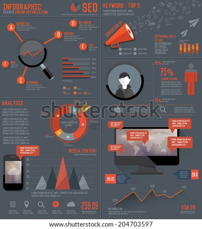 SEO elements Infographic design on dark background,vector - stock vector