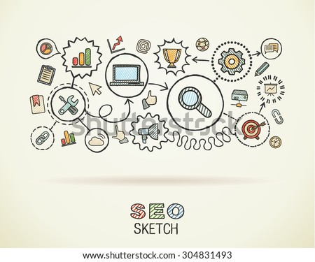 SEO hand draw integrated icons set on paper. Colorful vector sketch infographic illustration. Connected doodle pictograms: marketing, network, analytic, technology, optimize, interactive concept - stock vector