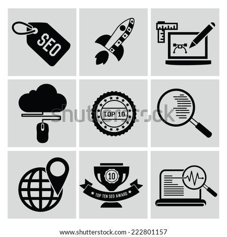 SEO icons,clean vector - stock vector