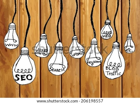 Seo Idea SEO Search Engine Optimization on wood background planks texture illustration - stock vector